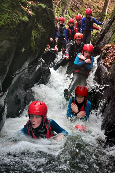 Scout group gorge walking